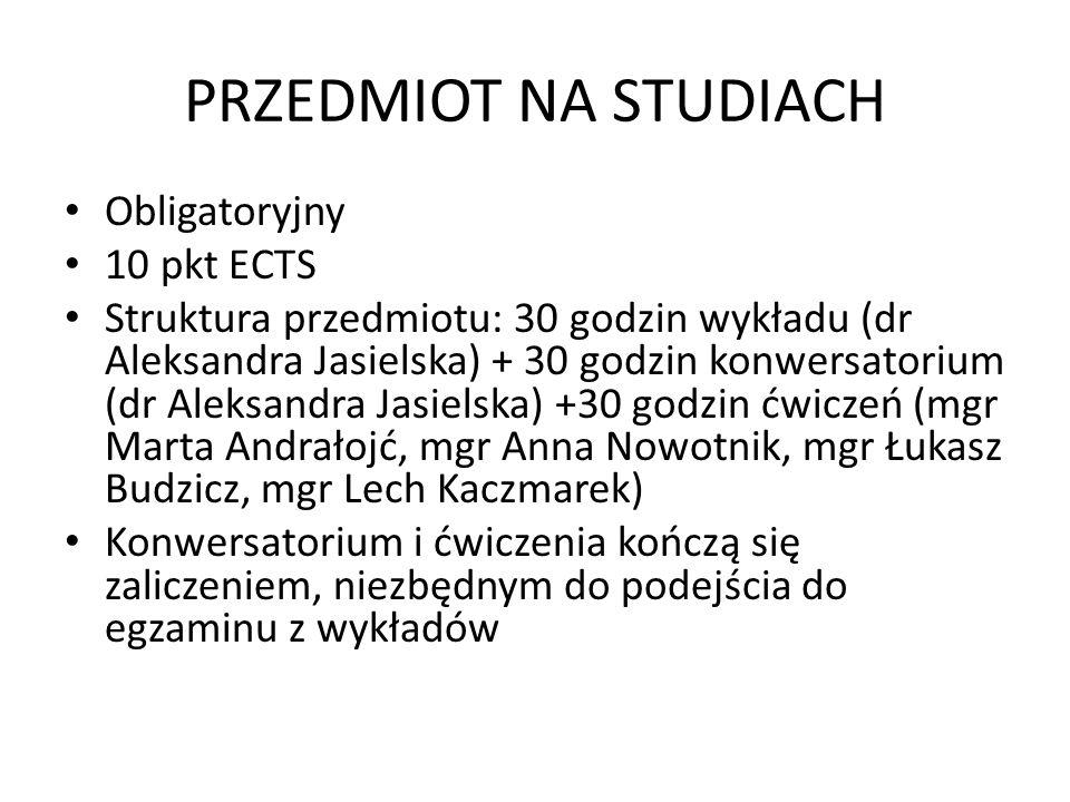 PRZEDMIOT NA STUDIACH Obligatoryjny 10 pkt ECTS