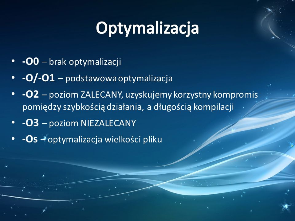 Optymalizacja -O0 – brak optymalizacji