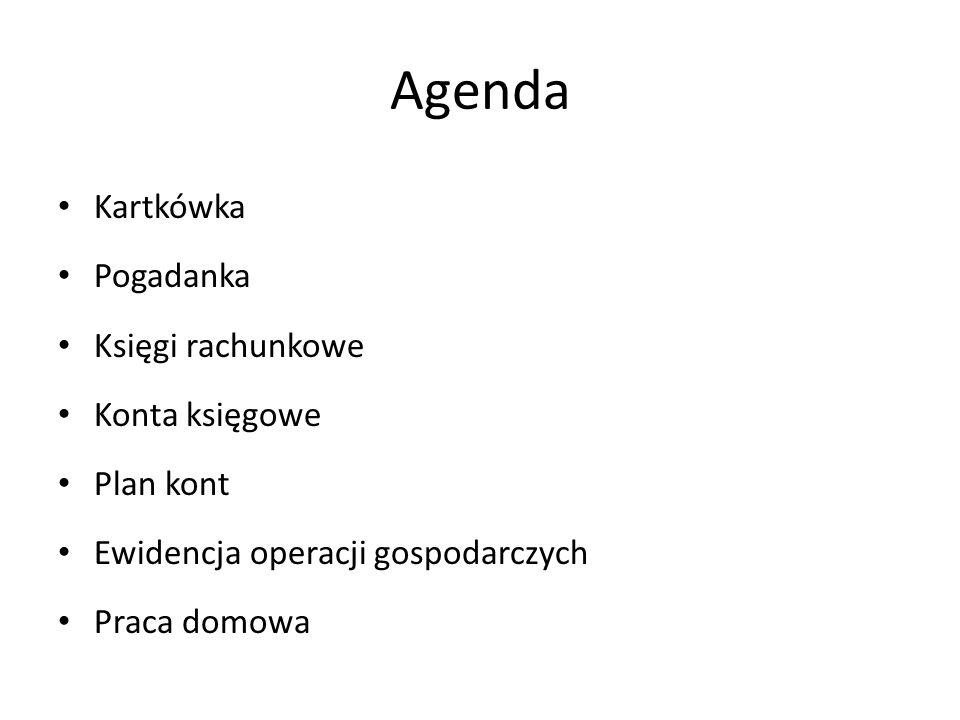 Agenda Kartkówka Pogadanka Księgi rachunkowe Konta księgowe Plan kont
