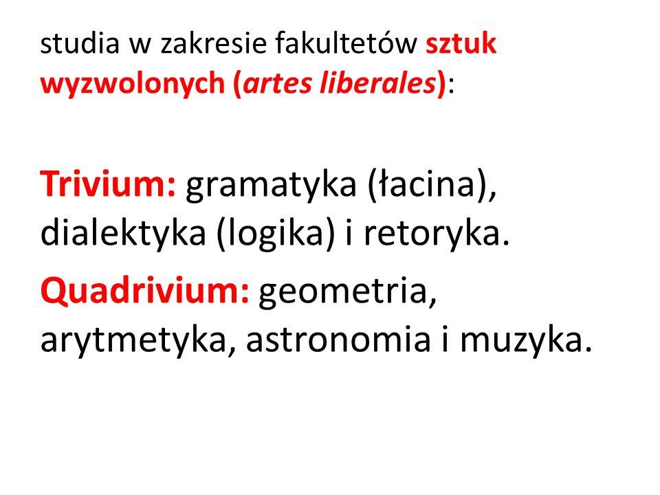 Trivium: gramatyka (łacina), dialektyka (logika) i retoryka.
