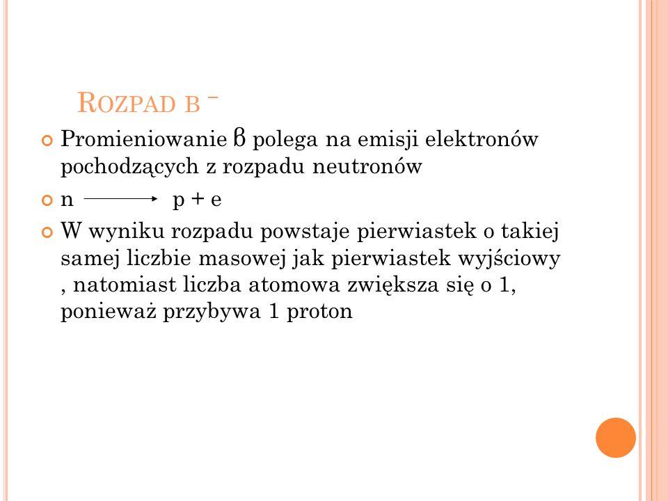 Rozpad β − Promieniowanie β polega na emisji elektronów pochodzących z rozpadu neutronów. n p + e.