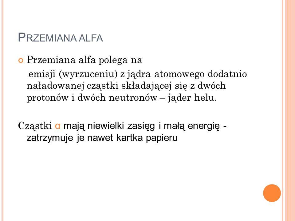 Przemiana αlfa Przemiana alfa polega na