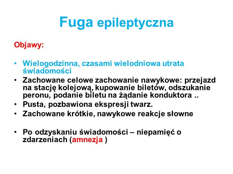 Fuga epileptyczna Objawy: