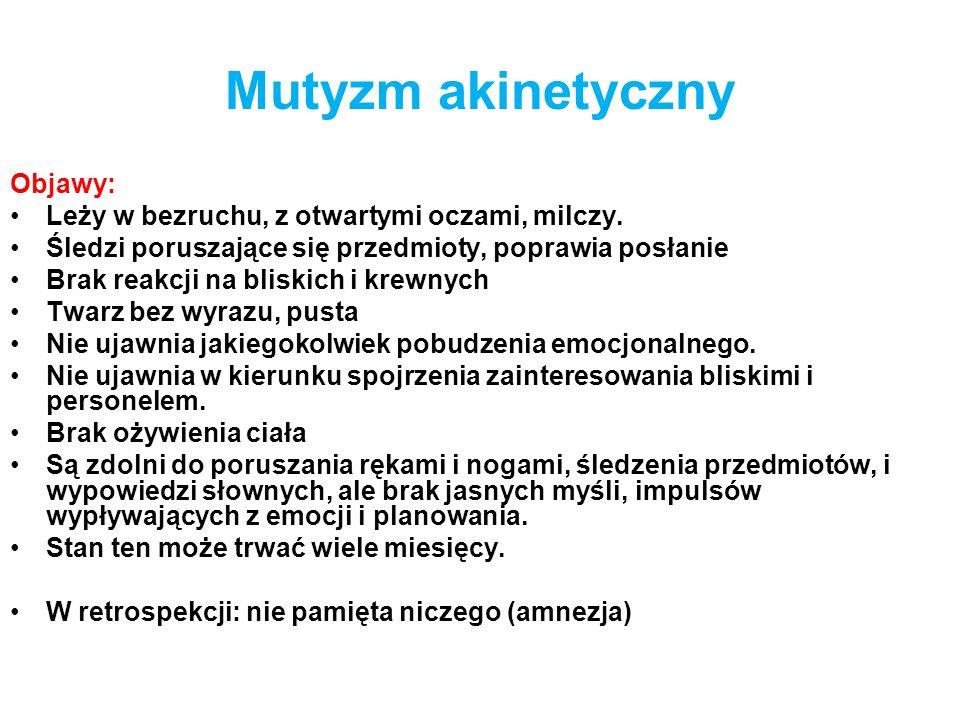 Mutyzm akinetyczny Objawy: