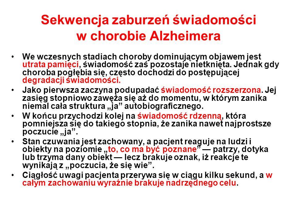 Sekwencja zaburzeń świadomości w chorobie Alzheimera