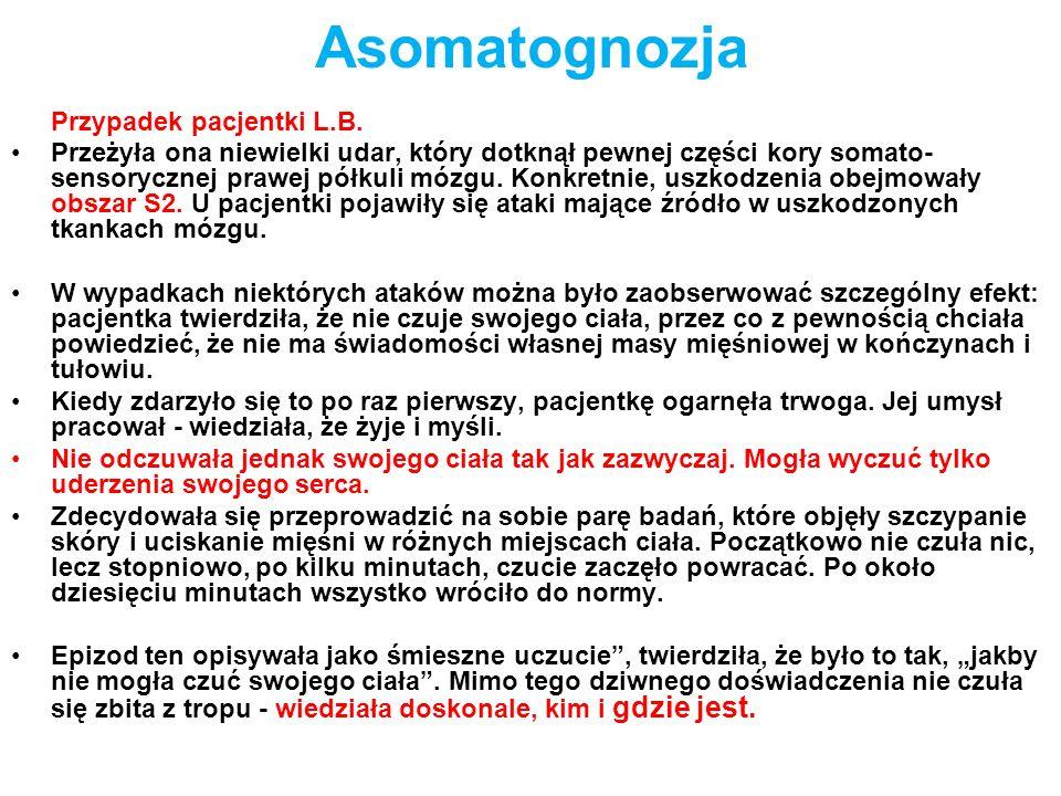 Asomatognozja Przypadek pacjentki L.B.