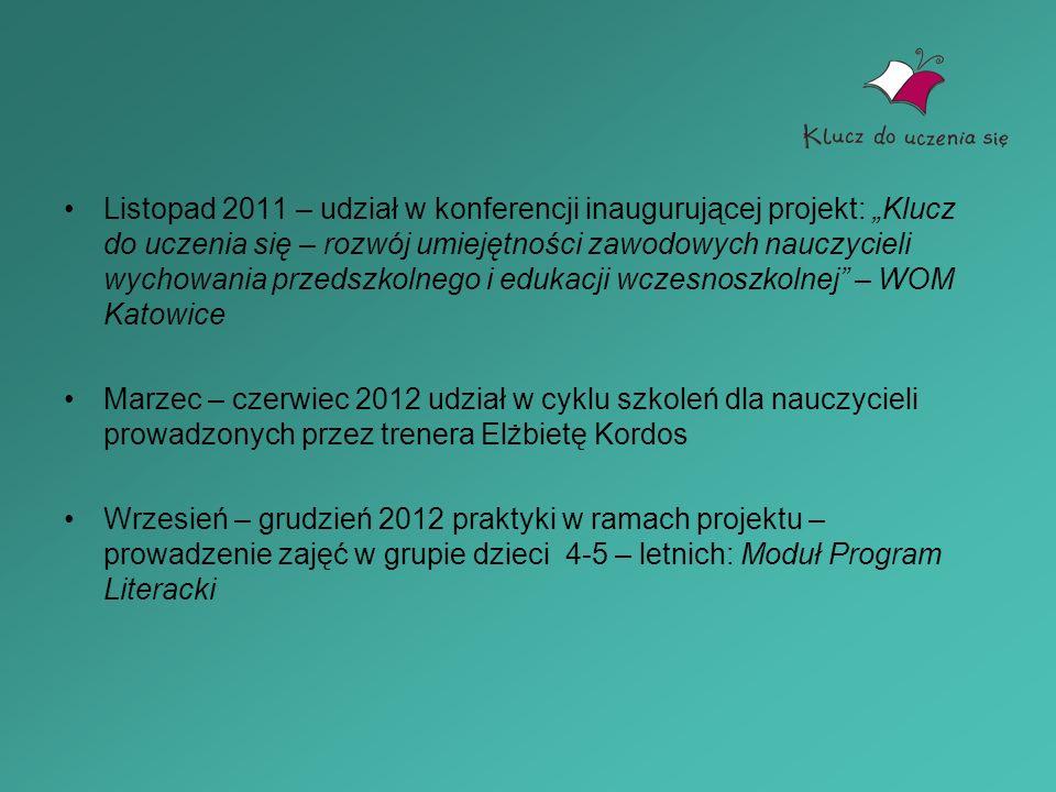 """Listopad 2011 – udział w konferencji inaugurującej projekt: """"Klucz do uczenia się – rozwój umiejętności zawodowych nauczycieli wychowania przedszkolnego i edukacji wczesnoszkolnej – WOM Katowice"""