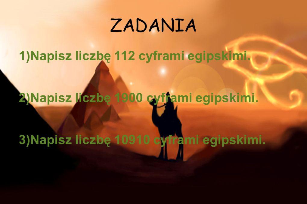 ZADANIA 1)Napisz liczbę 112 cyframi egipskimi.
