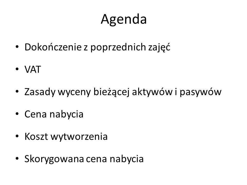 Agenda Dokończenie z poprzednich zajęć VAT