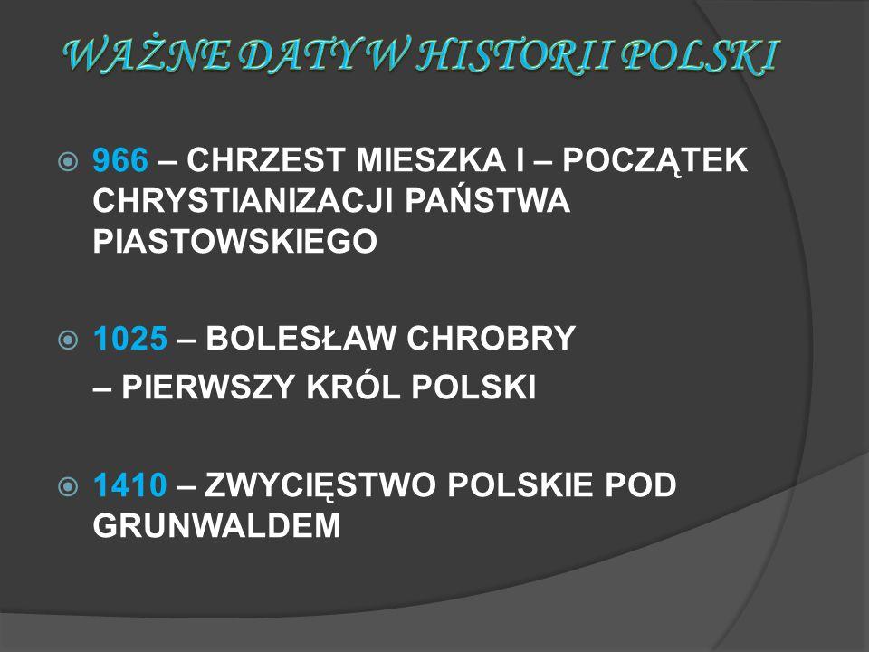 WAŻNE DATY W HISTORII POLSKI