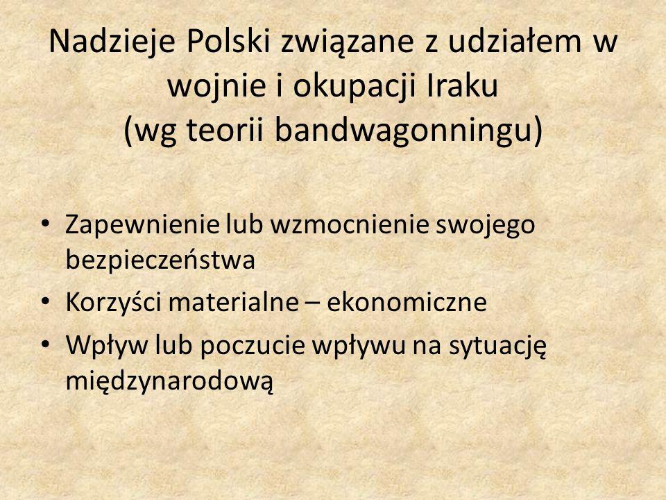 Nadzieje Polski związane z udziałem w wojnie i okupacji Iraku (wg teorii bandwagonningu)