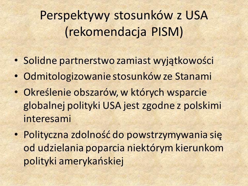 Perspektywy stosunków z USA (rekomendacja PISM)