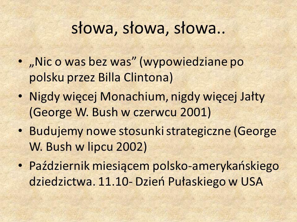 """słowa, słowa, słowa.. """"Nic o was bez was (wypowiedziane po polsku przez Billa Clintona)"""