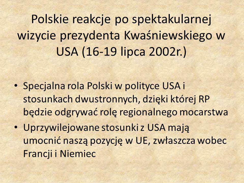 Polskie reakcje po spektakularnej wizycie prezydenta Kwaśniewskiego w USA (16-19 lipca 2002r.)