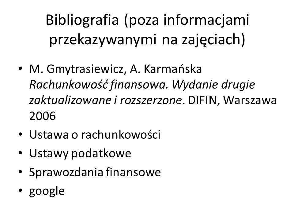 Bibliografia (poza informacjami przekazywanymi na zajęciach)