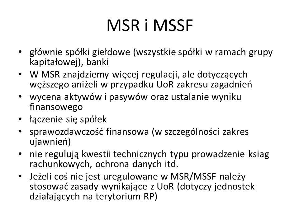 MSR i MSSF głównie spółki giełdowe (wszystkie spółki w ramach grupy kapitałowej), banki.