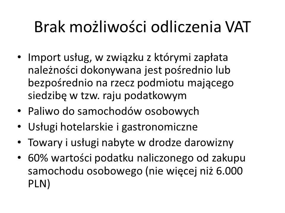 Brak możliwości odliczenia VAT