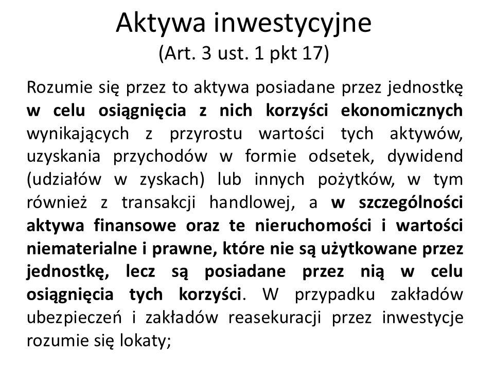 Aktywa inwestycyjne (Art. 3 ust. 1 pkt 17)