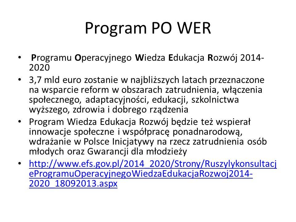 Program PO WER Programu Operacyjnego Wiedza Edukacja Rozwój 2014-2020