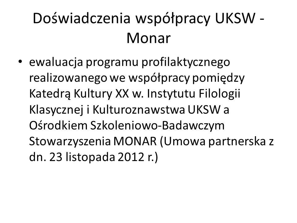 Doświadczenia współpracy UKSW - Monar