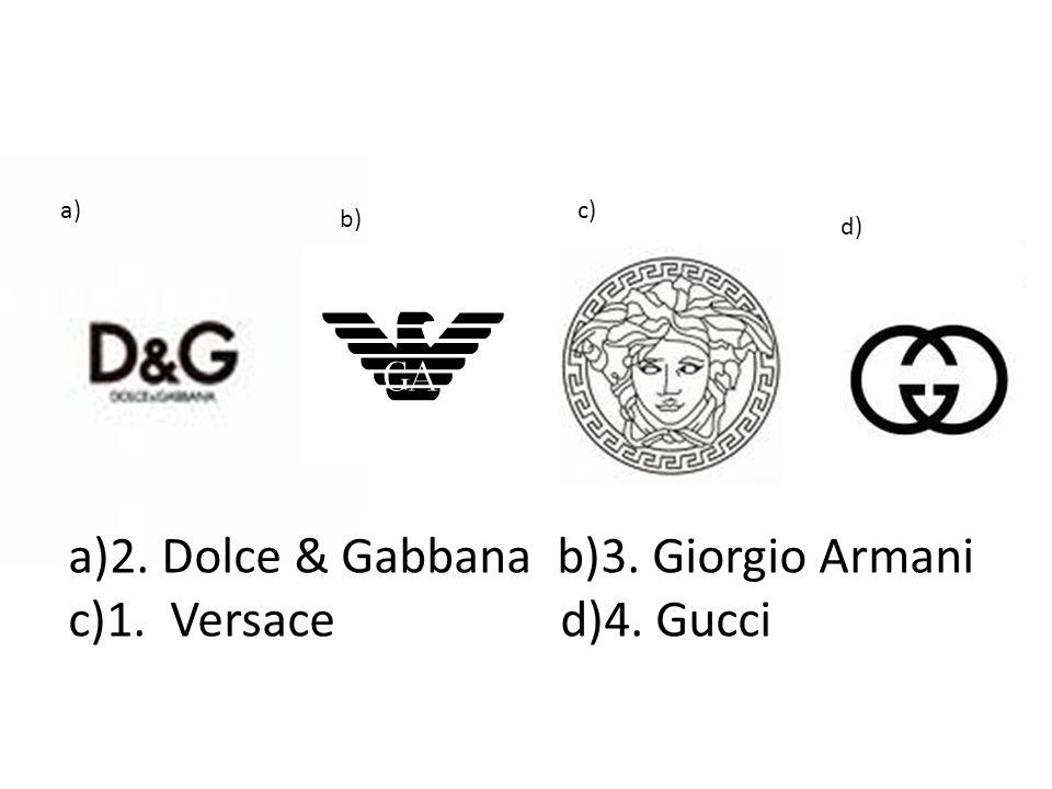 a)2. Dolce & Gabbana b)3. Giorgio Armani c)1. Versace d)4. Gucci