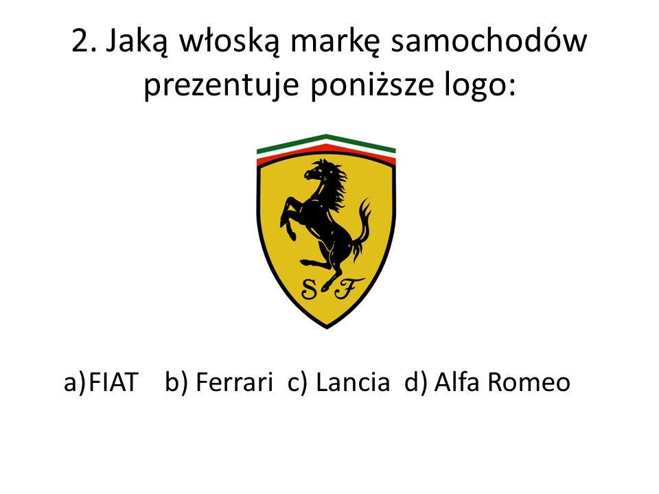 2. Jaką włoską markę samochodów prezentuje poniższe logo: