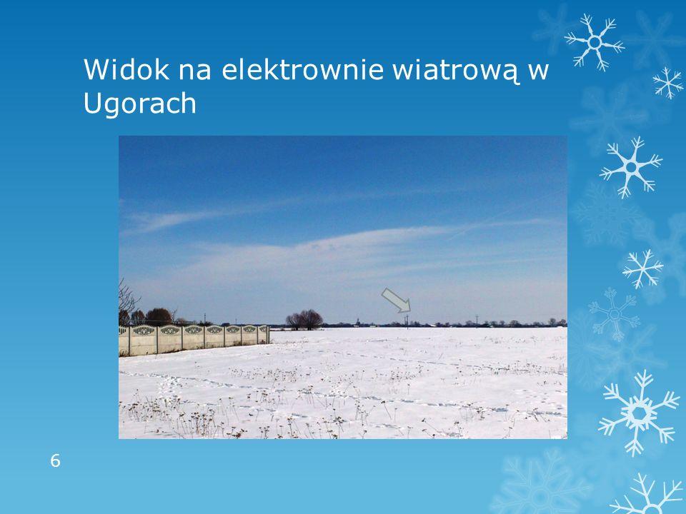 Widok na elektrownie wiatrową w Ugorach