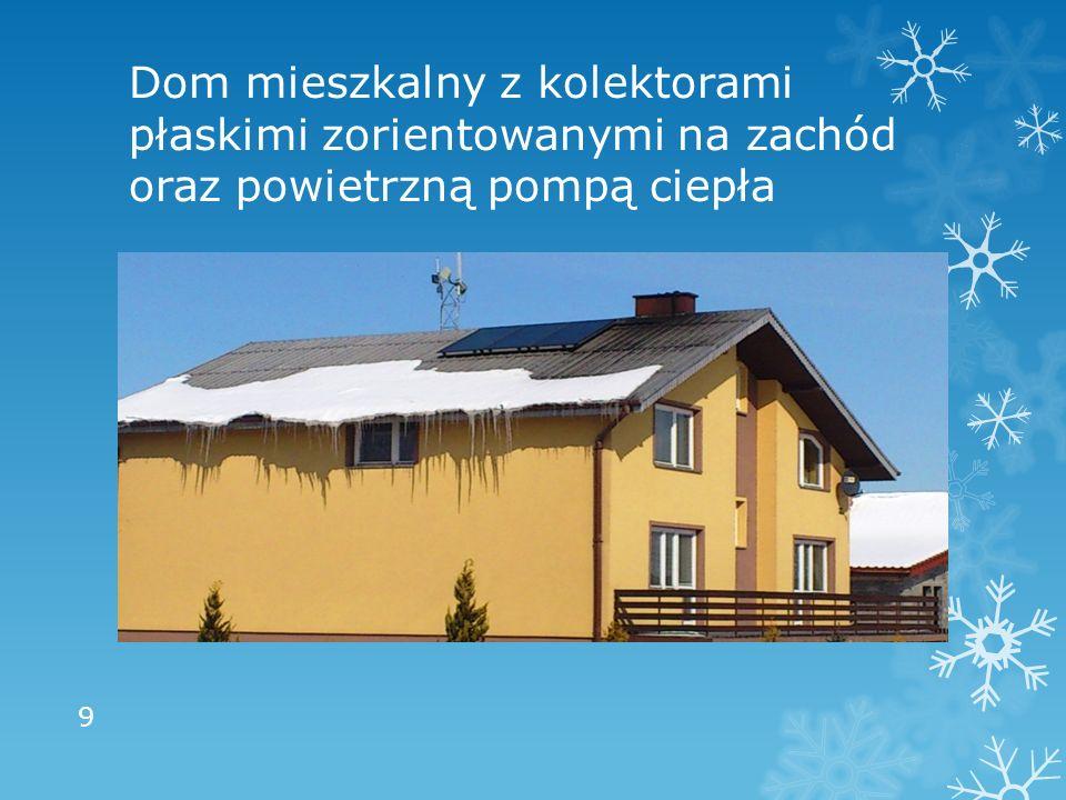 Dom mieszkalny z kolektorami płaskimi zorientowanymi na zachód oraz powietrzną pompą ciepła