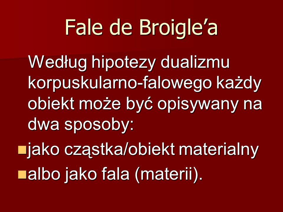 Fale de Broigle'a Według hipotezy dualizmu korpuskularno-falowego każdy obiekt może być opisywany na dwa sposoby:
