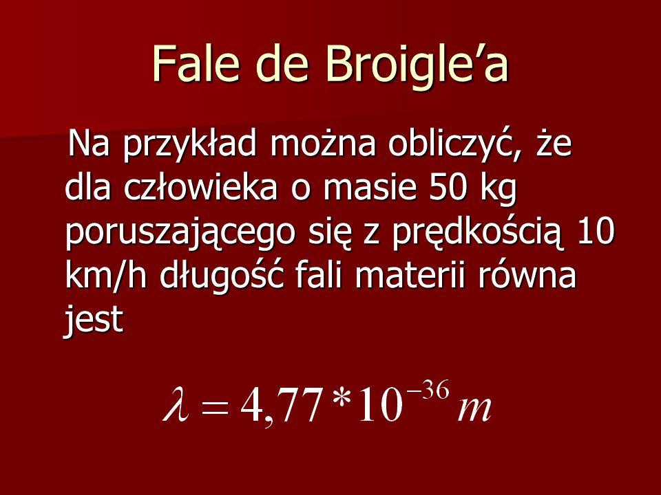 Fale de Broigle'a Na przykład można obliczyć, że dla człowieka o masie 50 kg poruszającego się z prędkością 10 km/h długość fali materii równa jest.