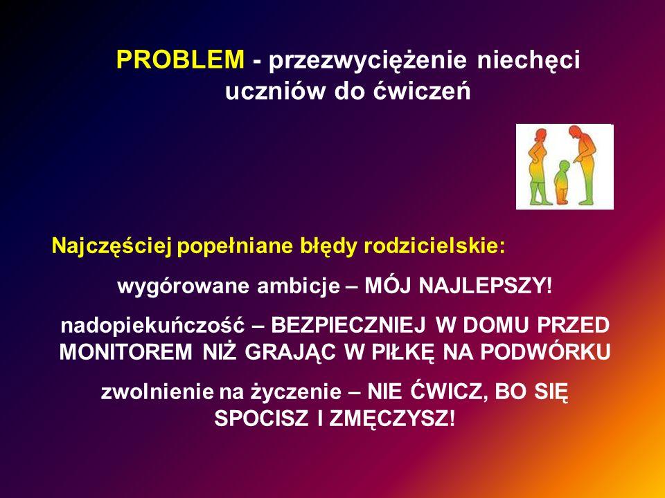 PROBLEM - przezwyciężenie niechęci uczniów do ćwiczeń