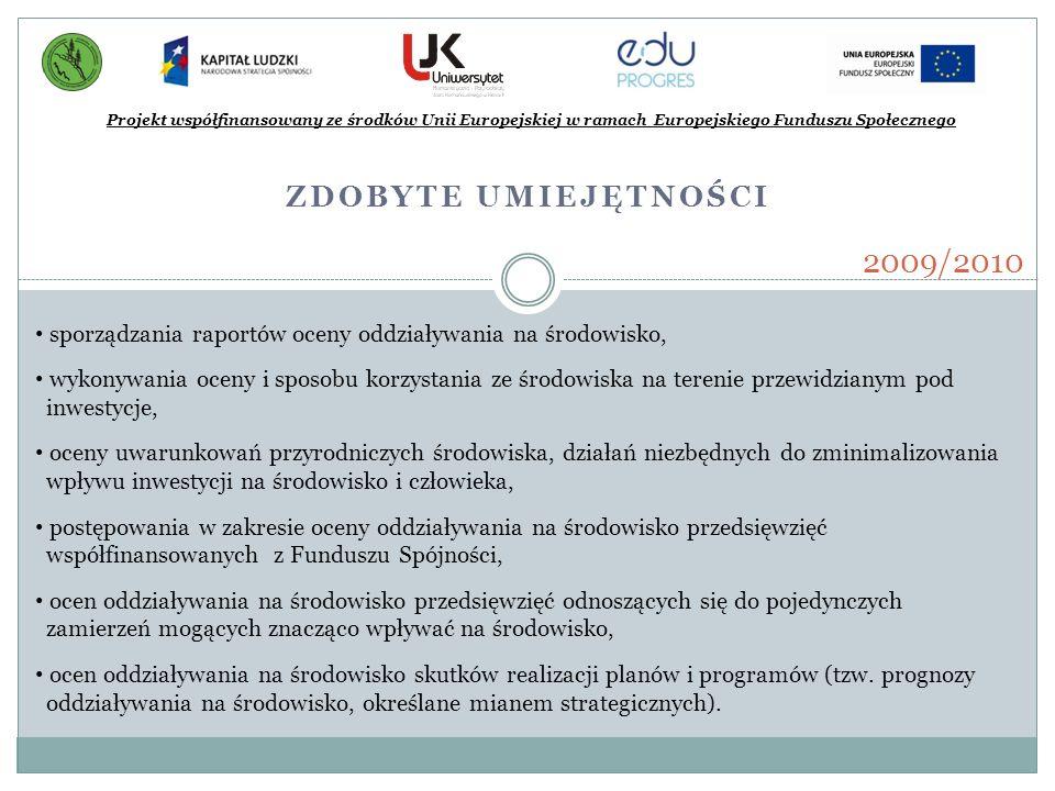 2009/2010 Zdobyte umiejętności