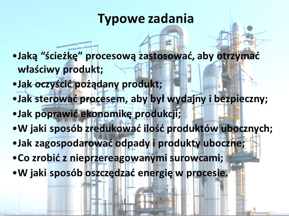 Typowe zadania Jaką ścieżkę procesową zastosować, aby otrzymać właściwy produkt; Jak oczyścić pożądany produkt;