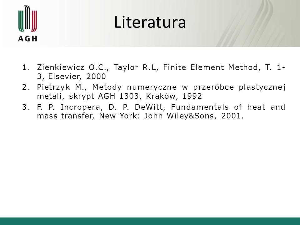 Literatura Zienkiewicz O.C., Taylor R.L, Finite Element Method, T. 1-3, Elsevier, 2000.