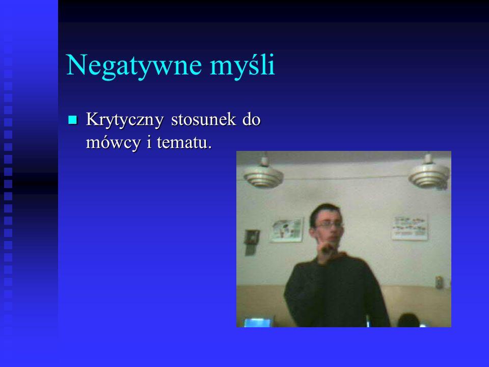 Negatywne myśli Krytyczny stosunek do mówcy i tematu.