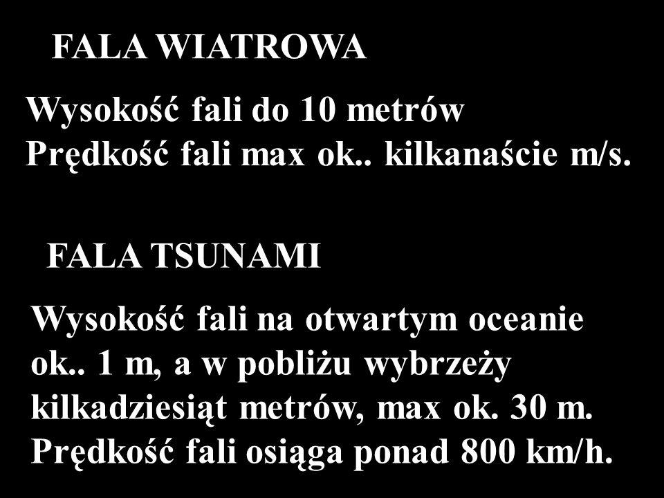 FALA WIATROWA Wysokość fali do 10 metrów. Prędkość fali max ok.. kilkanaście m/s. FALA TSUNAMI.