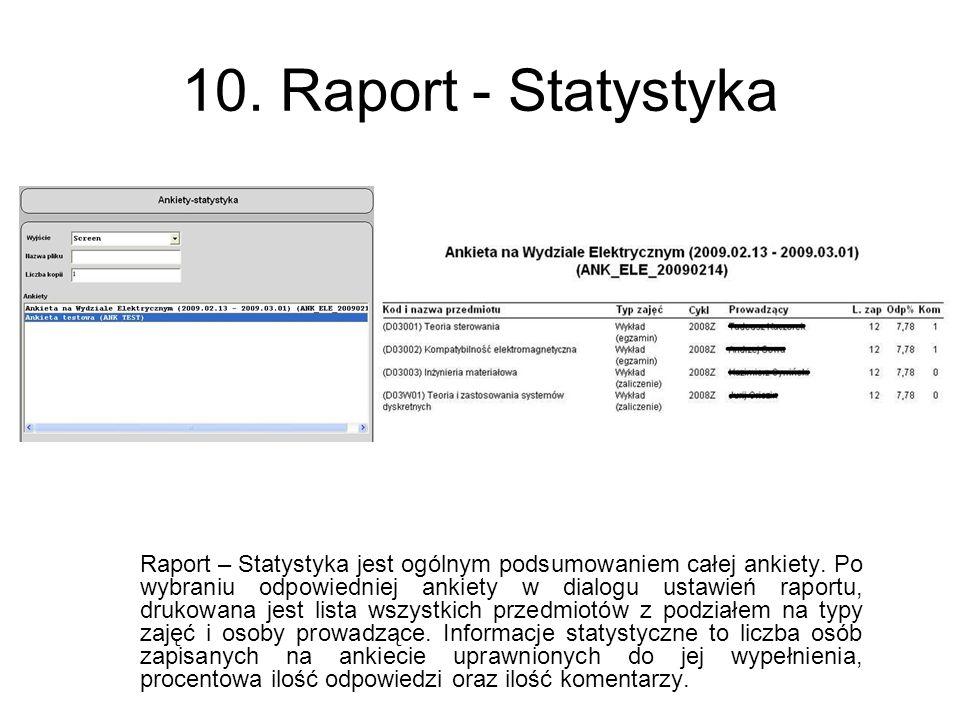 10. Raport - Statystyka