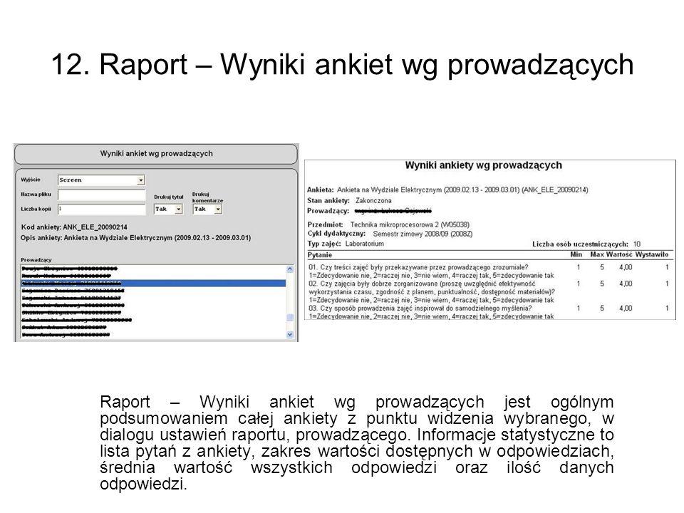 12. Raport – Wyniki ankiet wg prowadzących