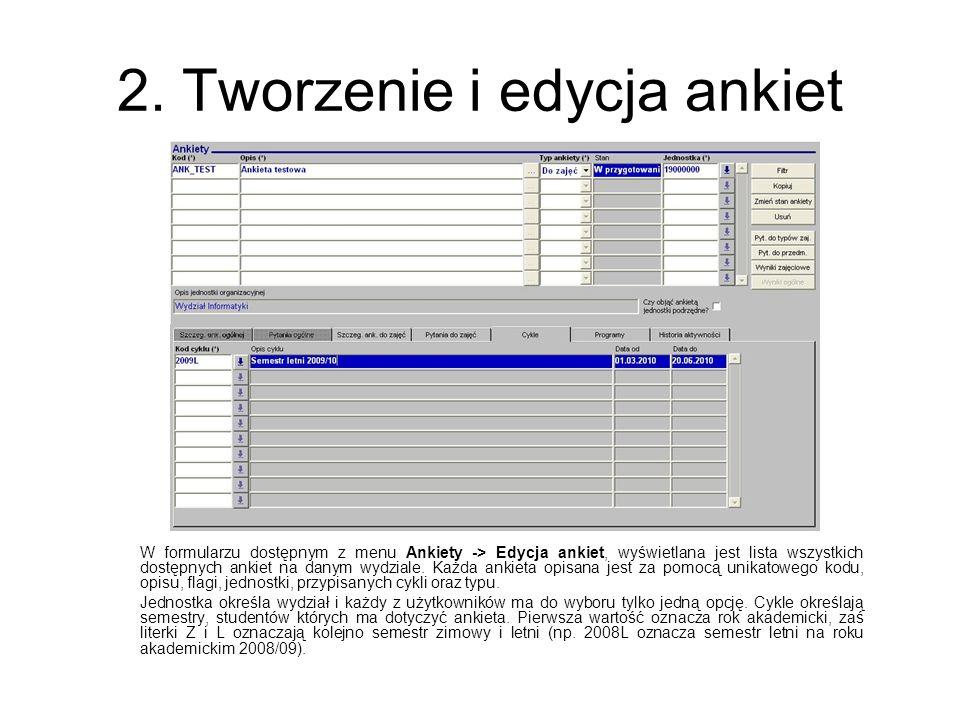 2. Tworzenie i edycja ankiet