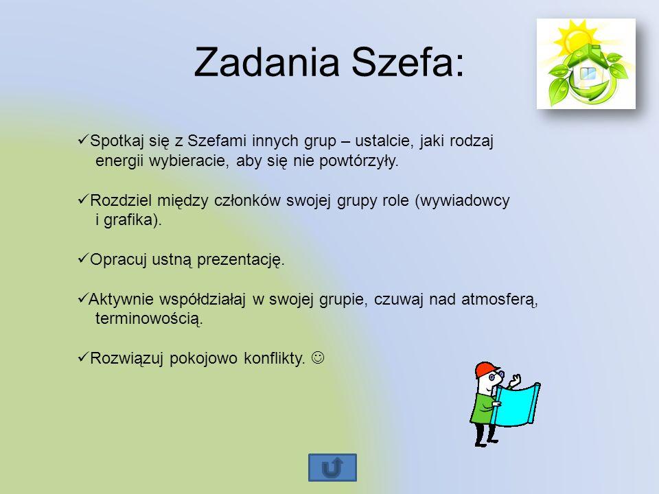 Zadania Szefa: Spotkaj się z Szefami innych grup – ustalcie, jaki rodzaj energii wybieracie, aby się nie powtórzyły.