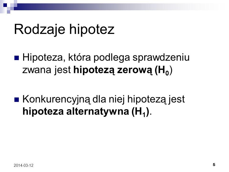 Rodzaje hipotez Hipoteza, która podlega sprawdzeniu zwana jest hipotezą zerową (H0) Konkurencyjną dla niej hipotezą jest hipoteza alternatywna (H1).
