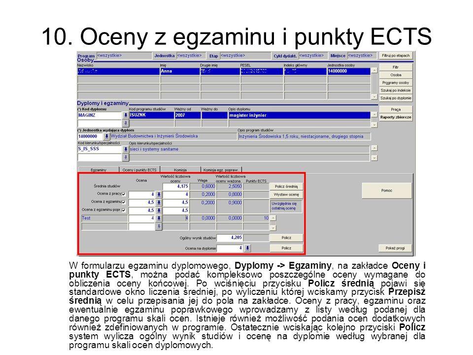 10. Oceny z egzaminu i punkty ECTS