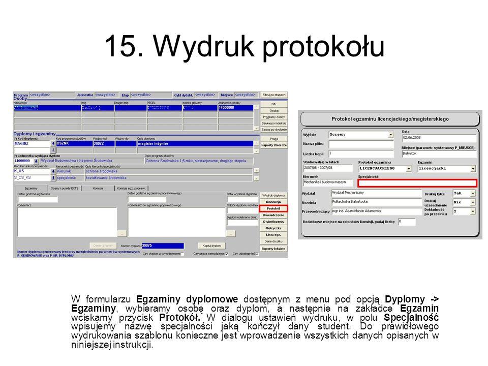 15. Wydruk protokołu