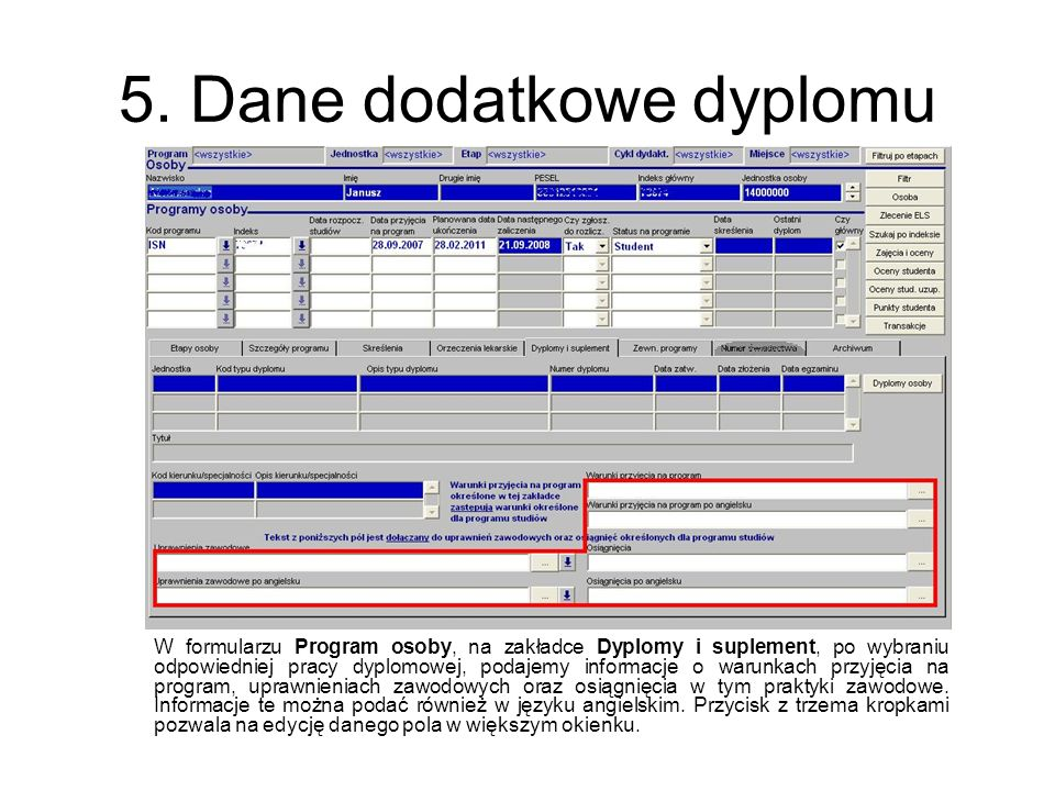 5. Dane dodatkowe dyplomu