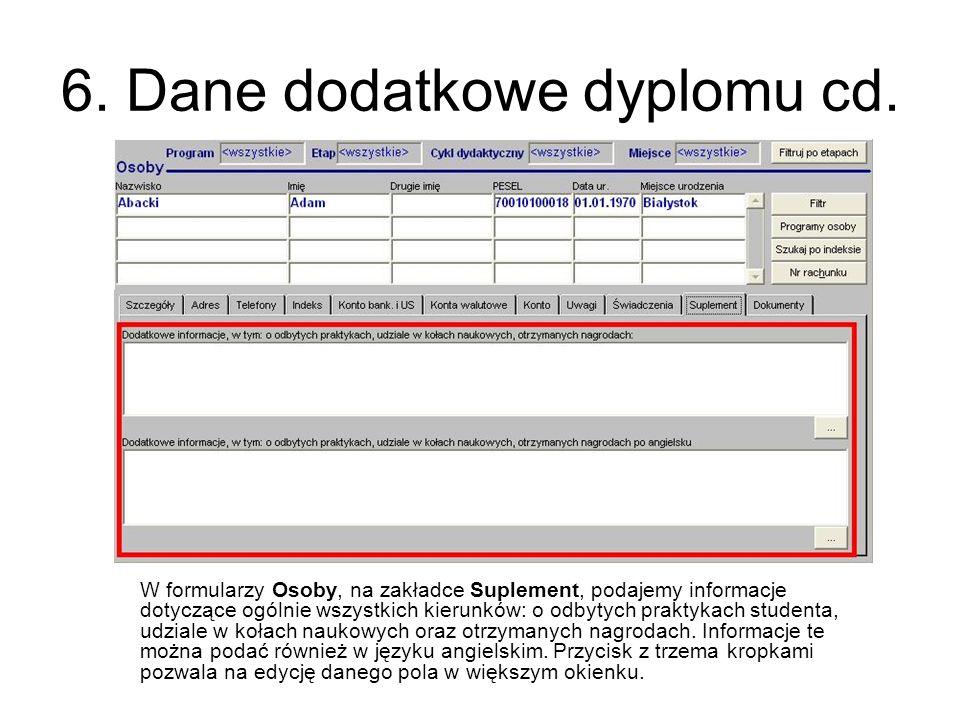 6. Dane dodatkowe dyplomu cd.