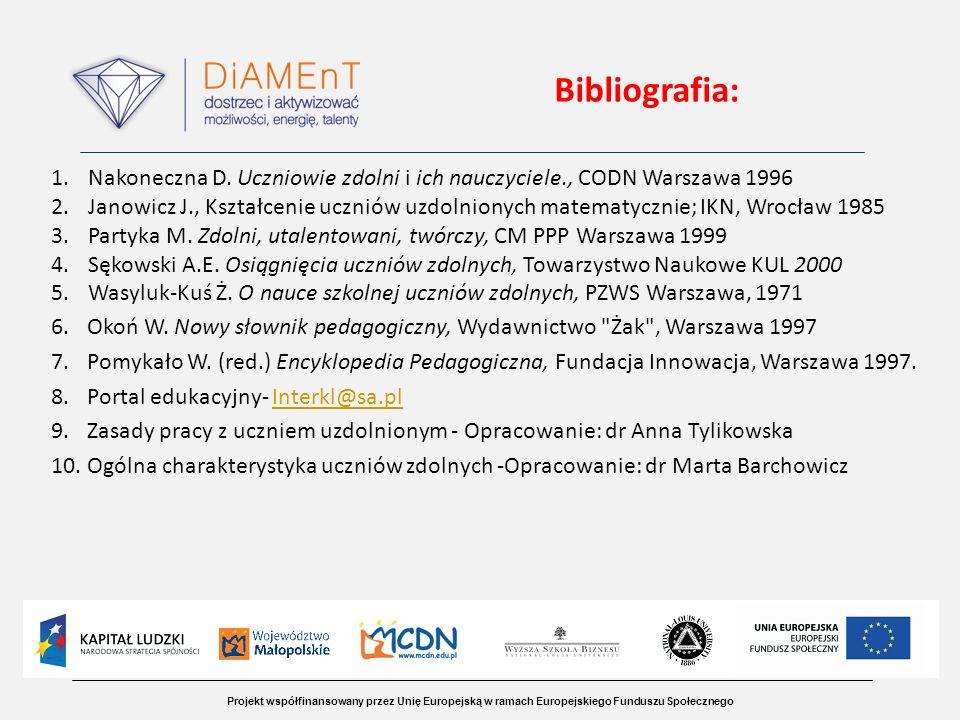 Bibliografia: Nakoneczna D. Uczniowie zdolni i ich nauczyciele., CODN Warszawa 1996.
