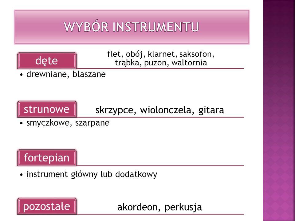 Wybór instrumentu skrzypce, wiolonczela, gitara akordeon, perkusja