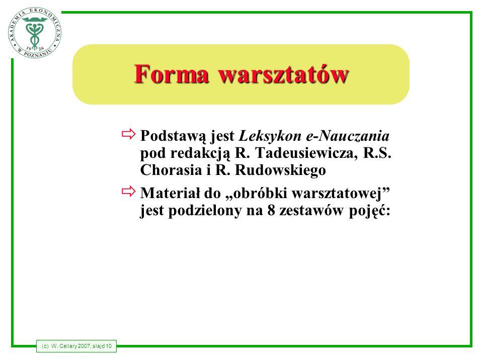 Forma warsztatów Podstawą jest Leksykon e-Nauczania pod redakcją R. Tadeusiewicza, R.S. Chorasia i R. Rudowskiego.