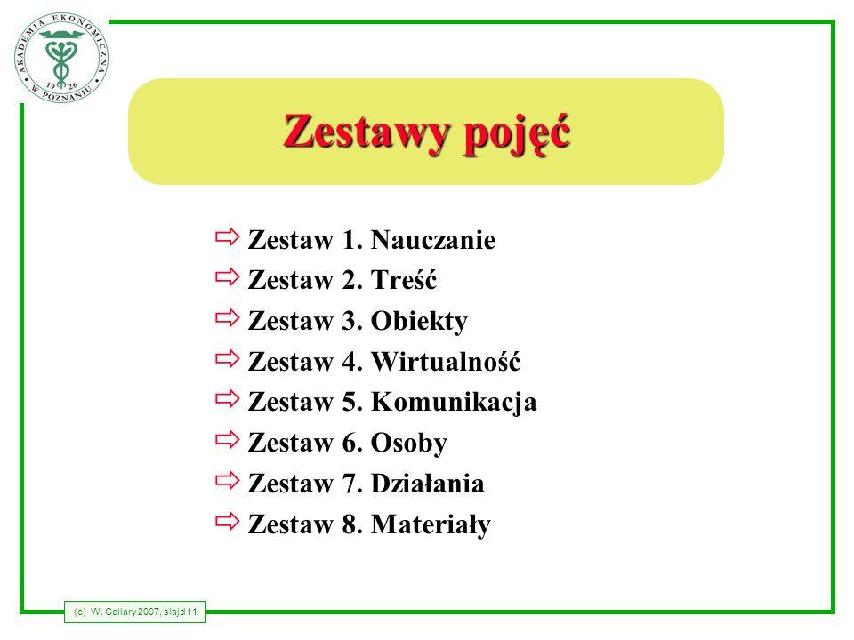 Zestawy pojęć Zestaw 1. Nauczanie Zestaw 2. Treść Zestaw 3. Obiekty