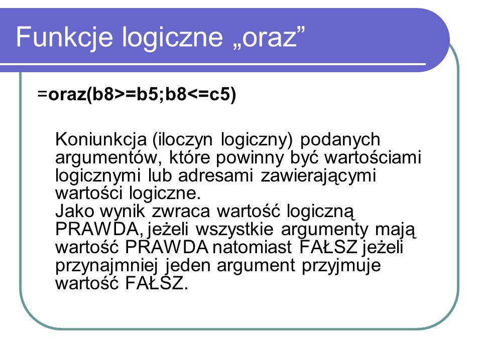 """Funkcje logiczne """"oraz"""
